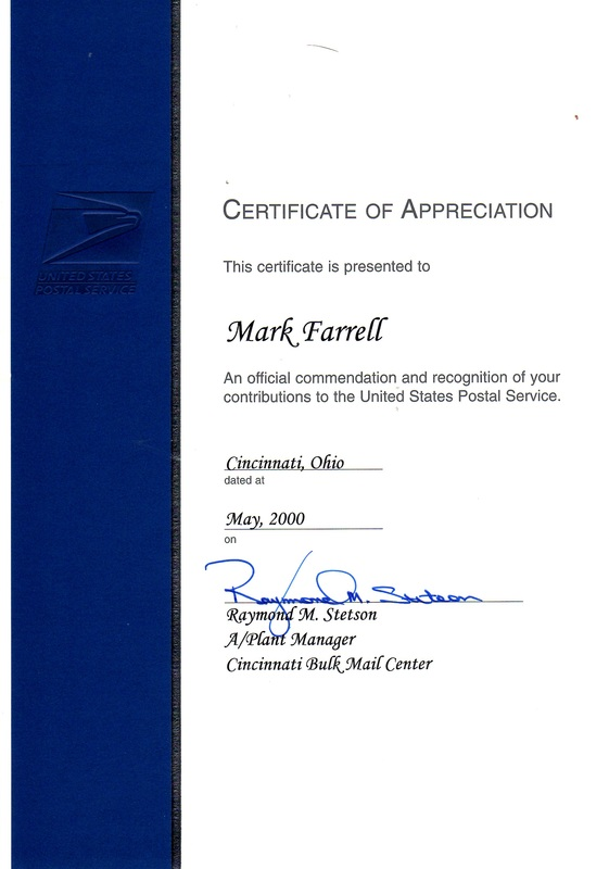 certificate of appreciation p farrell s e resume