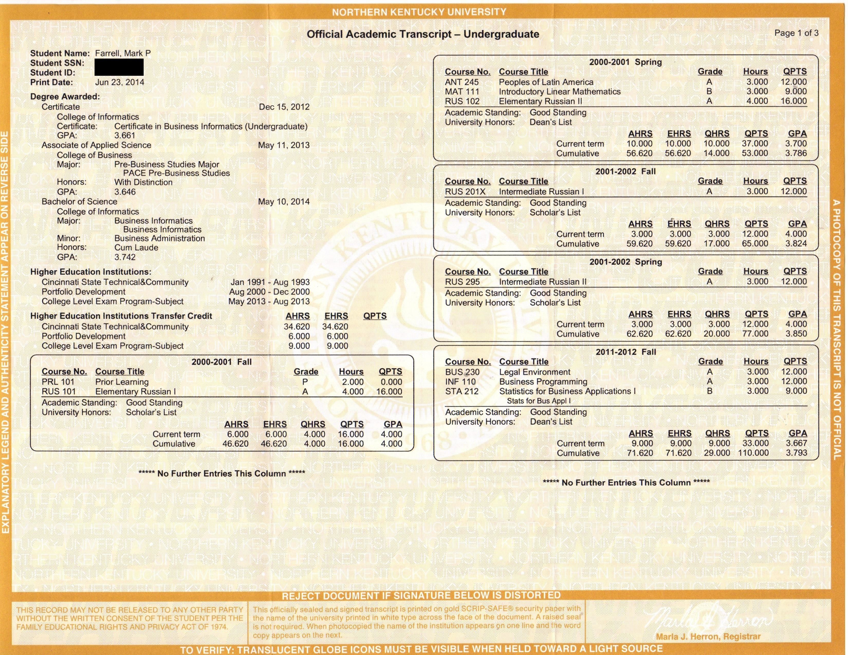 Certifications mark p farrells e resume undergraduate transcript 1 2 1betcityfo Image collections
