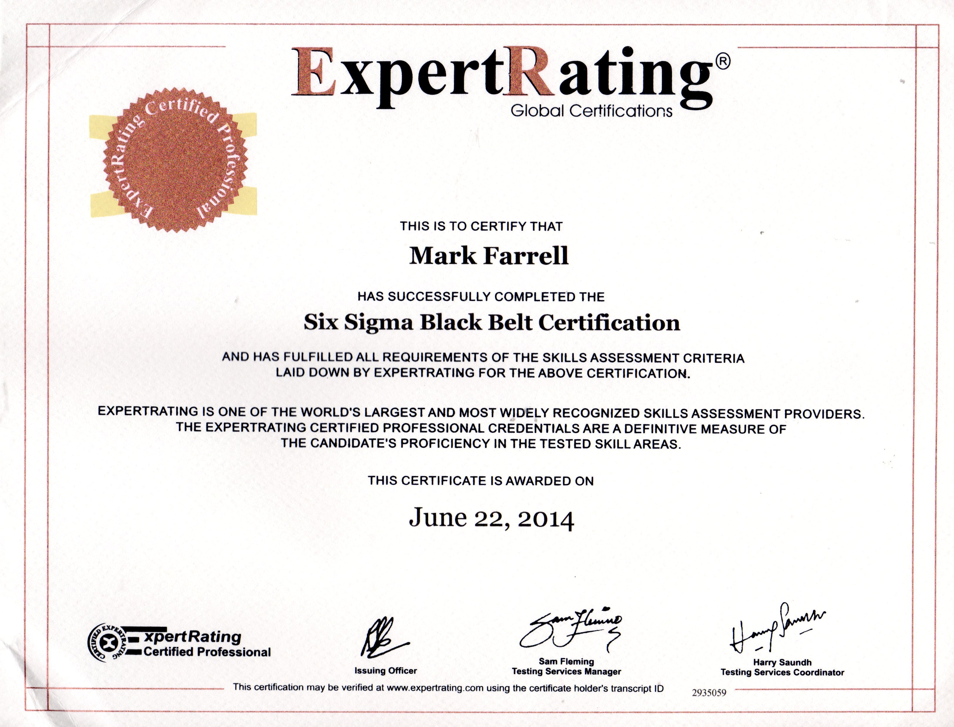 certifications mark p farrell s e resume